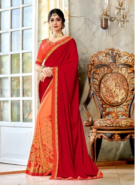 Half N Half Trendy Saree Embroidered Silk in Peach and Red