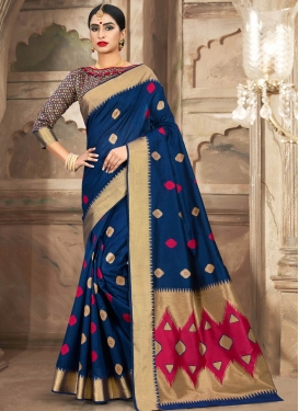 Handloom Cotton Navy Blue and Rose Pink Trendy Classic Saree