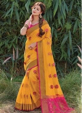Handloom Cotton Woven Work Designer Contemporary Style Saree