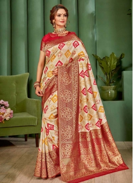 Handloom Silk Beige and Red Designer Contemporary Saree