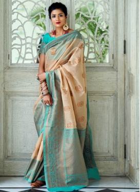 Handloom Silk Beige and Turquoise Trendy Classic Saree