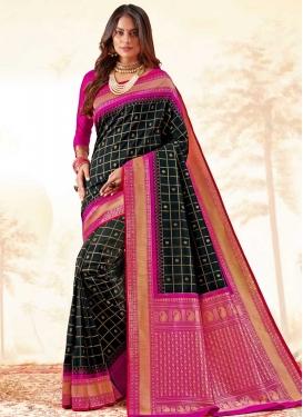 Handloom Silk Black and Fuchsia Woven Work Designer Traditional Saree