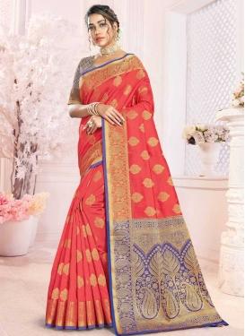 Handloom Silk Blue and Rose Pink Designer Traditional Saree For Ceremonial