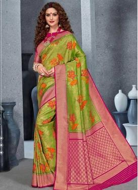 Handloom Silk Fuchsia and Green Designer Contemporary Saree