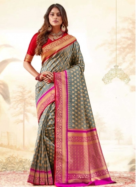 Handloom Silk Fuchsia and Grey Traditional Designer Saree For Festival