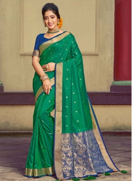 Handloom Silk Green and Navy Blue Designer Contemporary Saree For Casual