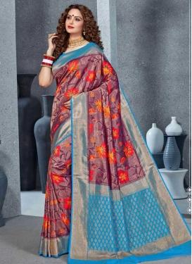 Handloom Silk Light Blue and Maroon Woven Work Trendy Classic Saree