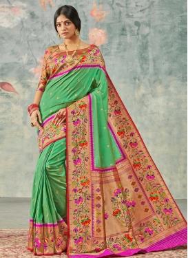 Handloom Silk Magenta and Sea Green Traditional Designer Saree