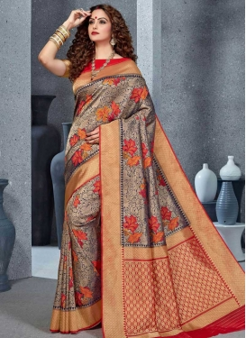 Handloom Silk Navy Blue and Red Woven Work Designer Traditional Saree