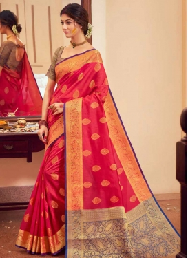 Handloom Silk Navy Blue and Rose Pink Trendy Classic Saree