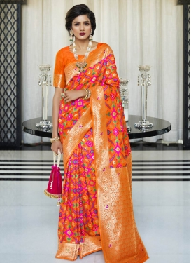 Handloom Silk Thread Work Designer Contemporary Style Saree