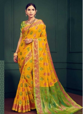 Handloom Silk Thread Work Green and Orange Designer Contemporary Saree