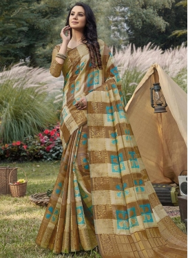 Handloom Silk Woven Work Beige and Brown Designer Contemporary Saree