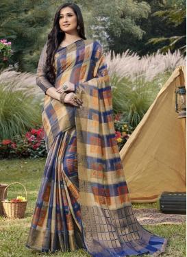 Handloom Silk Woven Work Beige and Navy Blue Traditional Designer Saree