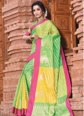 Handloom Silk Woven Work Gold and Mint Green Designer Contemporary Style Saree