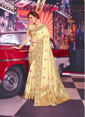 Haute Cream Weaving Art Silk Designer Traditional Saree
