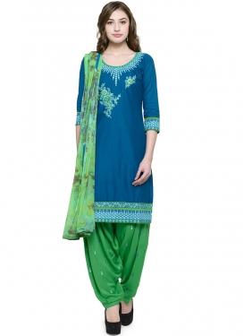 Haute Embroidered Blue Cotton Punjabi Suit