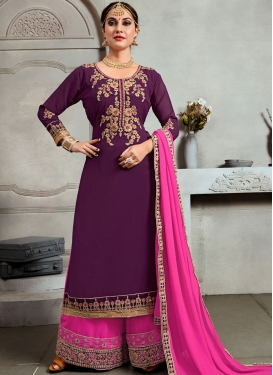 Haute Embroidered Faux Georgette Purple Palazzo Salwar Suit