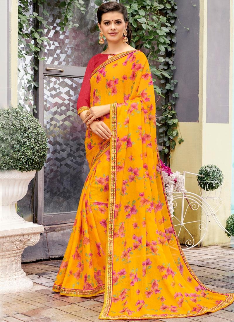Haute Printed Yellow Classic Saree