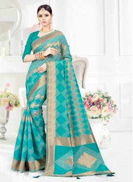 Haute Weaving Firozi Art Silk Designer Traditional Saree