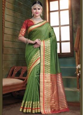 Heavenly Woven Green Designer Traditional Saree