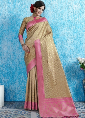 Honourable Weaving Beige Traditional Designer Saree