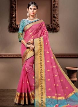 Hot Pink and Light Blue Cotton Silk Designer Contemporary Saree