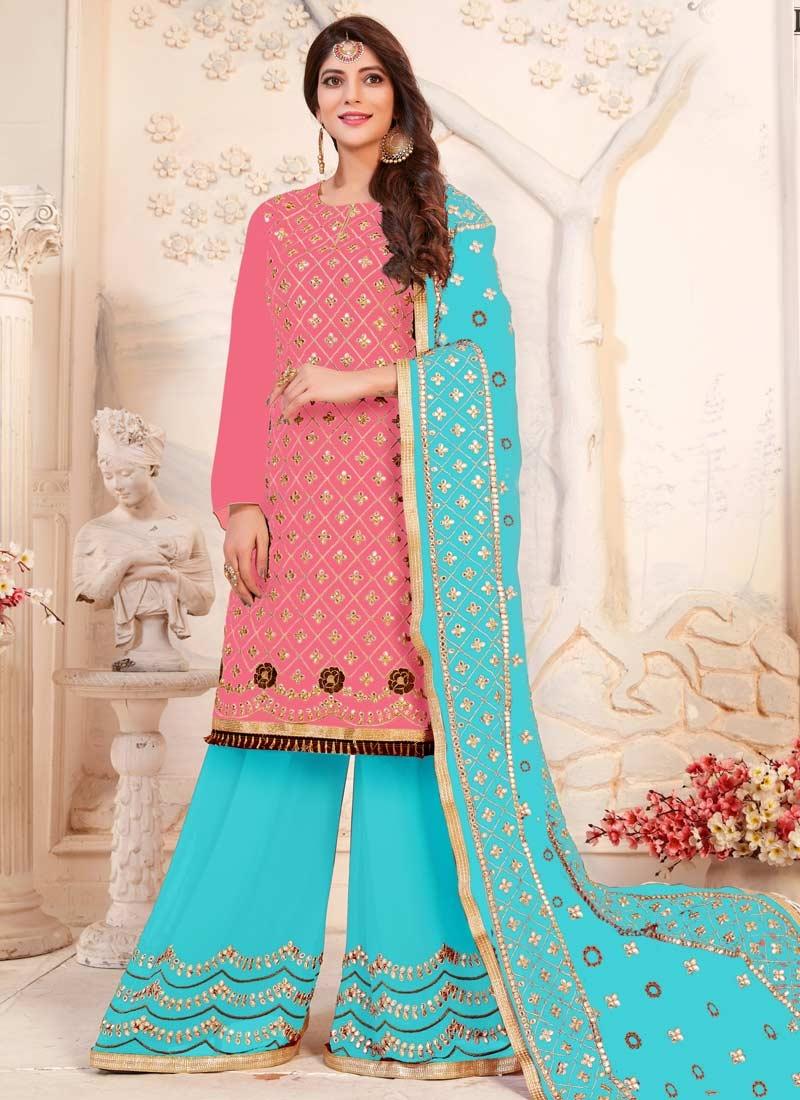 Hot Pink and Light Blue Sharara Salwar Kameez