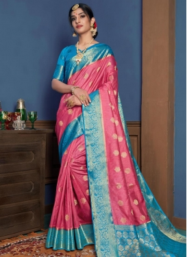 Hot Pink and Light Blue Woven Work Designer Traditional Saree