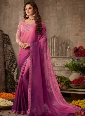 Hot Pink and Magenta Embroidered Work Designer Contemporary Style Saree