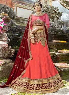 Hot Pink and Maroon Embroidered Work A Line Lehenga Choli