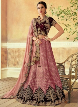 Hot Pink and Maroon Trendy Lehenga Choli