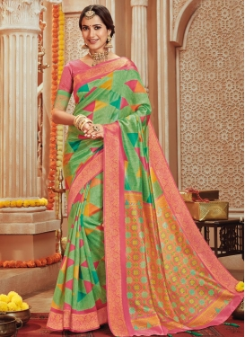 Hot Pink and Mint Green Designer Contemporary Saree