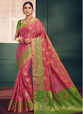 Hot Pink and Mint Green Handloom Silk Traditional Designer Saree