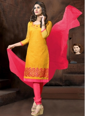 Hot Pink and Mustard Churidar Salwar Kameez