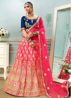 Hot Pink and Navy Blue A Line Lehenga Choli