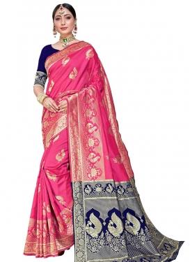 Hot Pink and Navy Blue Art Silk Designer Traditional Saree
