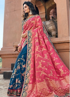 Hot Pink and Navy Blue Art Silk Half N Half Trendy Saree