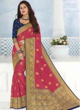 Hot Pink and Navy Blue Designer Contemporary Saree
