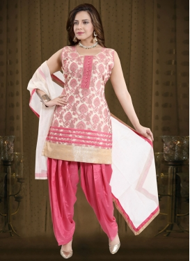 Hot Pink and Off White Readymade Salwar Kameez For Ceremonial