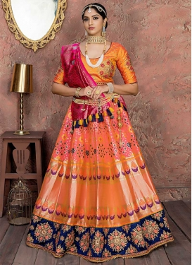 Hot Pink and Orange Embroidered Work Lehenga Choli