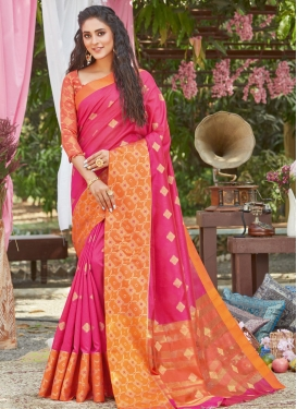 Hot Pink and Orange Traditional Designer Saree For Casual