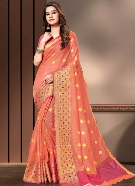 Hot Pink and Peach Woven Work Designer Traditional Saree