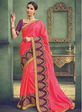Hot Pink and Purple Embroidered Work Designer Contemporary Saree