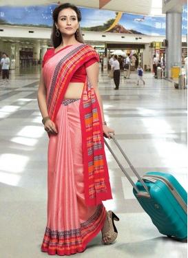 Hot Pink and Red Cotton Satin Designer Contemporary Saree