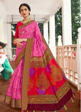 Hot Pink and Red Digital Print Work Designer Traditional Saree