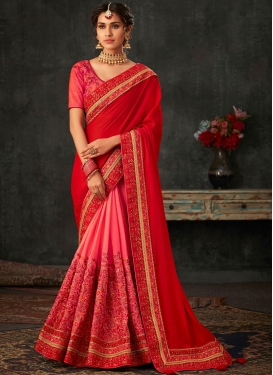 Hot Pink and Red Embroidered Poly Silk Designer Half N Half Saree
