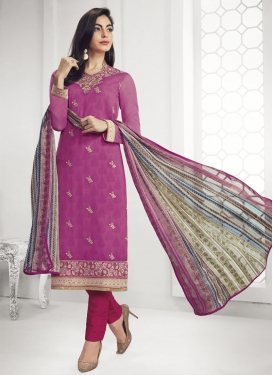 Hot Pink and Rose Pink Pant Style Pakistani Salwar Suit