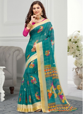 Hot Pink and Teal Contemporary Style Saree