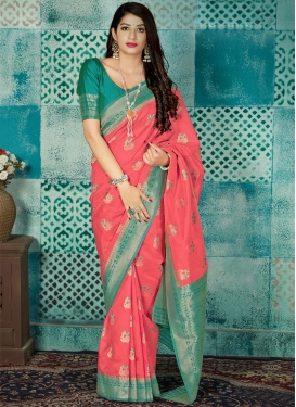 Hot Pink and Teal Designer Contemporary Saree For Ceremonial